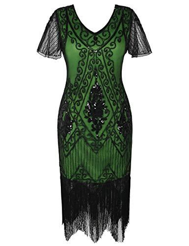 r Jahre Vintage Gatsby Kleid Ärmel inspiriert Perlen Pailletten Cocktail Flapper Kleid XXL Grün ()
