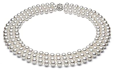 Sterling Silver Triple Strand White Freshwater Cultured Pearl Necklace AA+ Quality