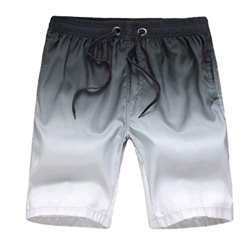 Xmiral Badehose Herren Farbverlauf Verstellbarem Kordelzug Elastisch Taille Lose Strandhosen Kurze Hosen Schnelltrocknend Surf Shorts Badeshorts(Grau,3XL) -