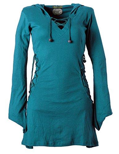 Vishes - Alternative Bekleidung �?Elfenkleid mit Zipfelkapuze und Bändern zum Schnüren Türkis