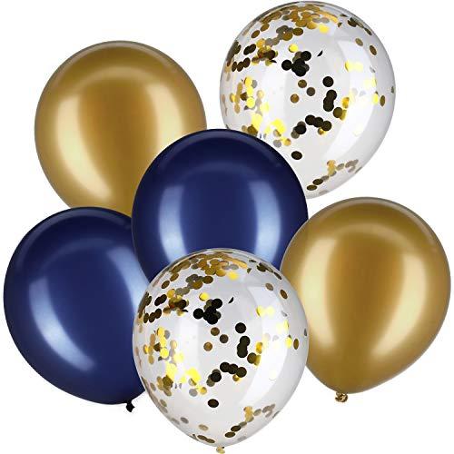 Jovitec 30 Stück 12 Zoll Latex BalloneConfetti Luftballons Metallic Luftballons für Hochzeit Geburtstags-Party-Dekoration Marine-Blau und Metallic Gold