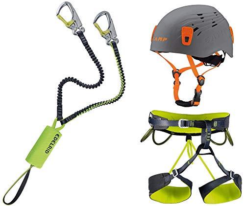 EDELRID Klettersteigset Cable Lite 5.0 + Klettergurt Camp Größe L + Helm Camp Titan Grey 48-56cm