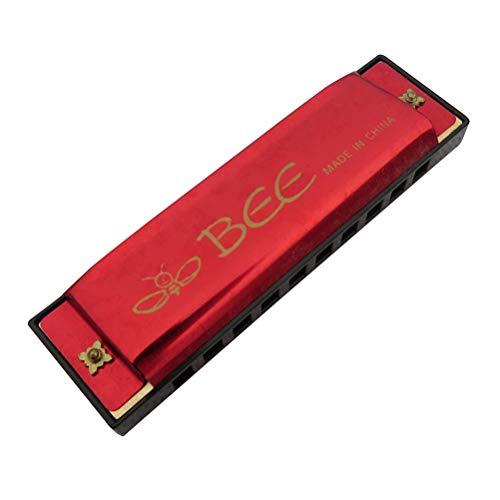 TOYANDONA 10 Loch Mundharmonika für Kinder mit Etui (schwarz) Metro rot