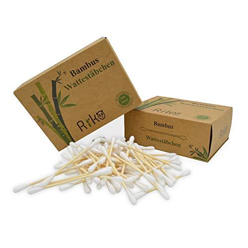 Riko 2-er Pack Bambus Wattestäbchen (400 Stück)   Biologisch abbaubar, Kompostierbar   Vegan und Nachhaltig