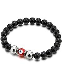 Pulsera de Negro Ónix Perlas con Vidrio de Estilo Murano Mal de Ojo, Brazalete de Hombre Mujer, Prayer Mala, Estirable