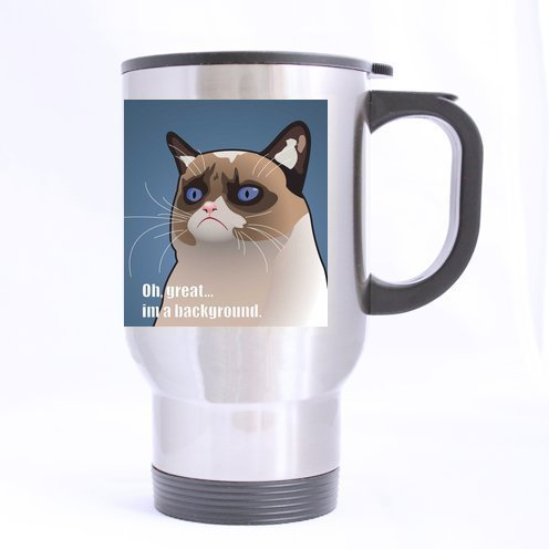 Custom Grumpy Cat Travel Mug(Tasses à café) (sliver)