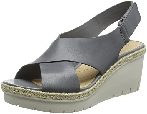 Clarks Palm Glow, Sandalia con Pulsera para Mujer, Gris (Grey Leather), 41.5 EU