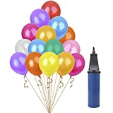 HusDow 120pcs Assorted Colors Party Balloons,12 inches Latex Balloon with a Balloon Pump for Wedding,Birthday, Party and Anniversary and other celebrations