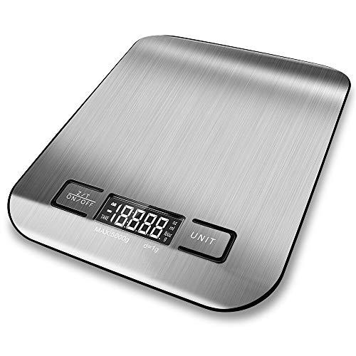 MooHome Digitale Küchenwaage Multifunktions Electronische Waage Backen Digitalwaage(11 lb / 5 kg Kapazität, Präzision auf bis zu 0,05 Unzen / 1 Gramm) Plattform aus Edelstahl (Batterien enthalten) -