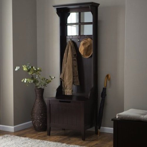 Espresso Entryway Mini Hall Tree with Mirror Coat Hooks and Storage Bench by Belham Living