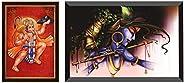 SAF Lord Hanuman Ji Sparkle Coated Digital Reprint Painting (13.25 Inch X 9.25 Inch) & Lord Krishna Design