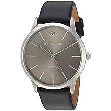 "Kenneth Cole New York Herren Armbanduhr ""Diamond Quarz Edelstahl und Leder Kleid, Farbe: Schwarz (Modell: 10031277)"