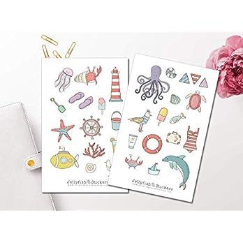 Strand Sticker Set | Aufkleber Tiere | Journal Sticker | Sticker Meer | Sticker für Kinder | süße Sticker