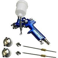 MINI HVLP Spritzpistole Lackierpistole Rostfrei Düse 0,8mm + 2x Düsensatz 0,5mm & 1,0mm