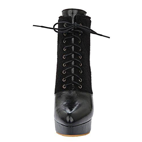 ENMAYER Frauen Synthetische Stiletto High Heel Stiefeletten Schwarz