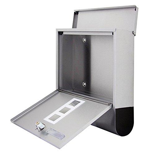 SAILUN® Edelstahl-Briefkasten mit Zeitungsrolle Aufklappbarem Regendach Postkasten mit Zeitungsfach (Silber, B Type) - 5