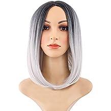 BaZhaHei Peluca de Mujer Belleza para Mujer Peluca Recta del Pelo del Partido Corto del Pelo sintético de Bob de Las Pelucas de Bob del Pelo de Ombre del ...