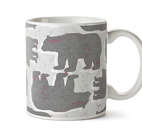Hippowarehouse Grizzly Bear Pattern printed mug cup ceramic 10oz (Pink Flecks)