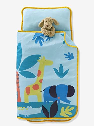 Vertbaudet Schlafsack mit Kissen Cosy Wrap, Dschungel Aqua ONE Size (Kinder Schlafsack Mit Kissen)