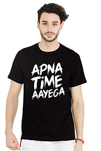 DRUG 7 Unisex Cotton Apna Time Aayega T-Shirt (Black, XL)