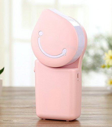 Sonrisa USB portable del acondicionador de aire del ventilador Viajes Handheld recargable ventilador purificador de aire Humidificador para el verano de los niños con el cable de carga USB (Pink)