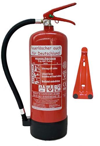Feuerlöscher 6kg ABC Pulverlöscher mit Manometer EN 3 , Prüfnachweis mit Jahresmarke , Messingarmatur Sicherheitsventil , ( Mit Kunststoffstandfuß mit Wandhalter ohne Prüfnachweis u. Jahresmarke )