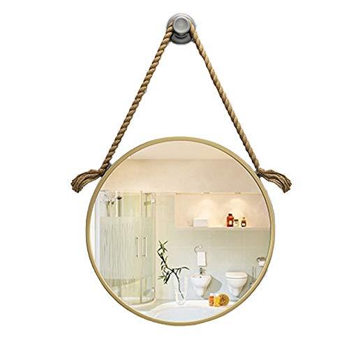 ZCM-MIRROR Wandspiegel, badezimmerspiegel, rasierspiegel, rund, Gold, schmiedeeisen, umweltfreundliche Farbe, Vintage hanfseil, floatglas Silber Spiegel, wasserdichte behandlung,60x60cm