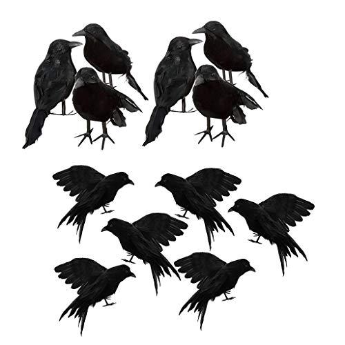 PETSOLA 12 Teile/Satz Halloween Black Crow Ravens Schwarze Vögel Requisiten Künstliche Vogel Rabe Prop Kunsthandwerk Für Halloween Party Dekoration