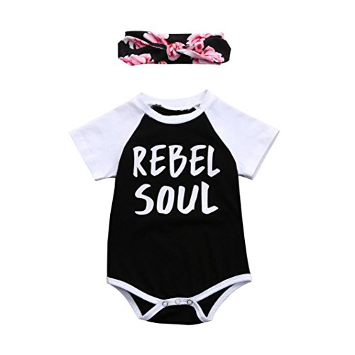 Saihui Baby Girl Boy Jumpsuit Set, Newborn Toddler Girls Boys Letter Print Bodysuit Jumpsuit Outfits Short Sleeve Romper + Headband Clothes Sets