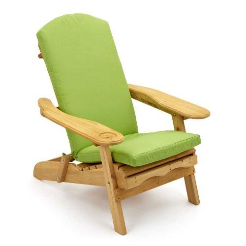 Fauteuil d'extérieur inclinable avec coussin de luxe vert clair