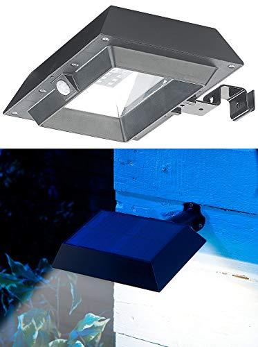 Lunartec Dachrinnenleuchte: 2in1-Solar-LED-Dachrinnen- & Wandleuchte, PIR-Sensor, 300 lm, schwarz (Solar-Dachrinnenleuchte)