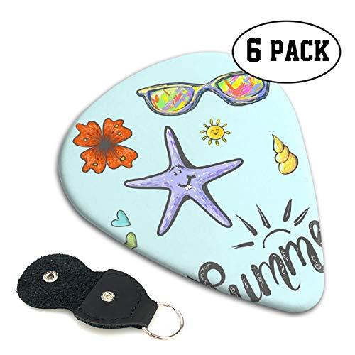 Cavdwa Summer Cartoon Starfish Sonnenbrille, personalisierte 6-teilige Gitarrenplektren, 0,96 mm, 0,71 mm, 0,46 mm Mode für E-Gitarre, Akustikgitarre, Mandoline und Bass, ABS-Kunststoff, weiß.46mm
