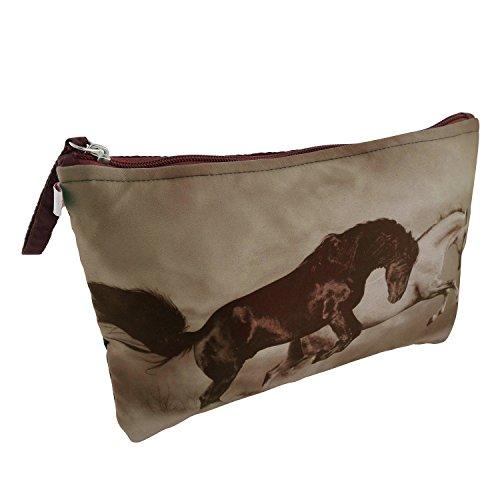 Kosmetiktasche innen gepolstert mit viel Platz 17 x 26 cm, abwaschbar Motiv Wild-Pferde elegante Kunstseide als Schminktasche Beautytasche mit Reißverschluss (Innen Tasche Reißverschluss Mit)