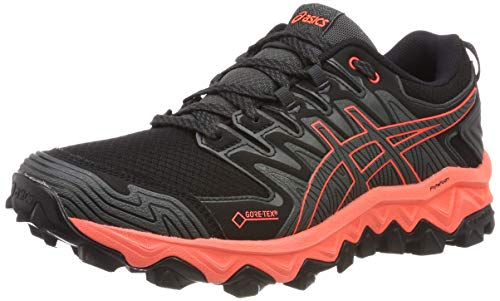 ASICS Damen Gel-Fujitrabuco 7 G-TX Laufschuhe, Grau (Dark Grey/Flash Coral 020), 41.5 EU (Running Schuhe Asics Gel Flash)