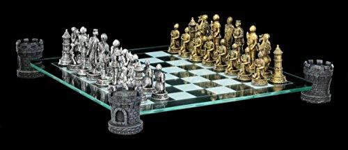Ritter-Schachspiel-auf-Burgturm-Schachfiguren-Mittelalter-Schach Ritter Schachspiel auf Burgturm – Schachfiguren Mittelalter Schach -