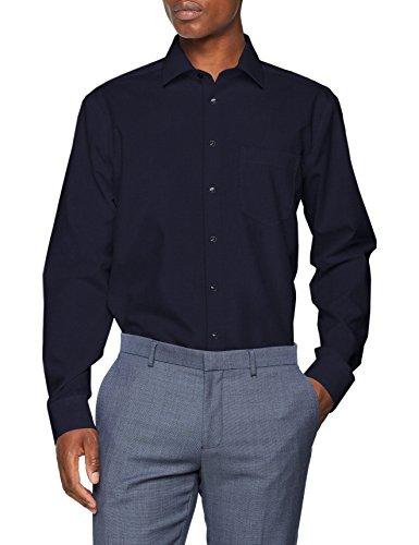 Seidensticker Herren Businesshemd Modern Langarm mit Kent-Kragen Bügelfrei Uni , Grau (Dunkelgrau 38) , Kragenweite: 43 cm