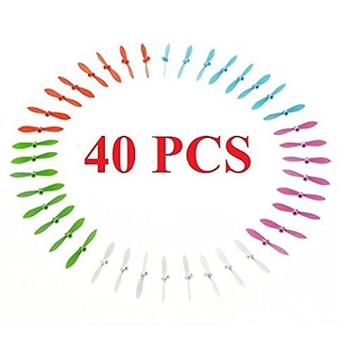 40 Hélices (10 sets) pour Cheerson CX-10 CX-10A CX-10C CX-10W / Eachine E10 E10C E10W / Wltoys V272 V676 / FQ777-124