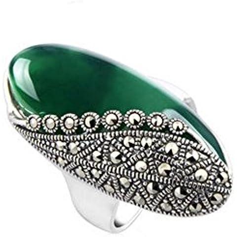 Ángel de Jade de la vendimia de la plata esterlina 15 x 32 mm Oval creado verde ágata de marcasita anillo