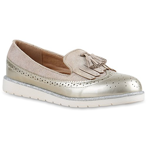 Damen Lack Slipper Loafers Metallic Quasten Schuhe Profilsohle Gold Velours Lack