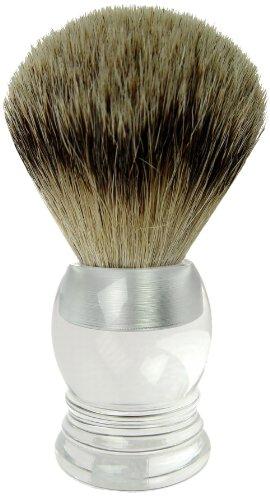 Fantasia 84013 - Blaireau - Poils argentés - Blaireau véritable - Argenté acrylique - Dim: 9 cm, ø 21.5 mm,