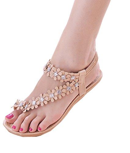 zeagoo-women-bohemia-flower-beads-flip-flop-shoes-flat-sandals-uk-4-pink-rhinestone