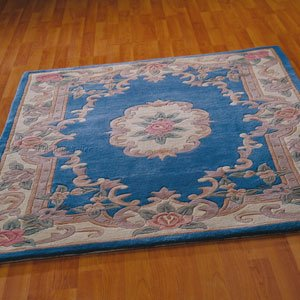 The Rug Seller Chinesische Teppiche - 510 Aubusson Full Cut in Blau, Wolle, 60x120cm (4'0