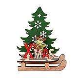 XdiseD9Xsmao Mignon Durable en Bois Elk Santa Bonhomme De Neige Épissage Ornement Home Desktop Noël Décoration DIY Ajouter Une Atmosphère à Ce Noël LNone Elk #