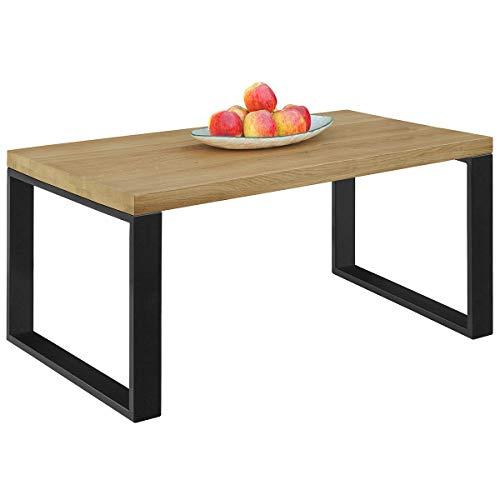 Comifort MS11AH - Mesa de Centro Salón de madera de Roble Macizo, estilo industrial, mesas auxiliares, mesitas nido 110x55x45 cm (AHUMADO)
