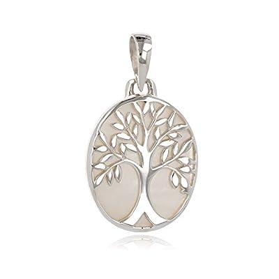 idée cadeau anniversaire maman-Cadeau bijoux symbole Arbre de vie-Pendentif-Nacre Blanche-Argent massif-ovale-unisexe