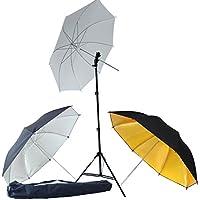DynaSun KUT3 Kit d'éclairage Professionnel avec Trépied, Douille, Parapluie Blanc Argent/Noire Or/Noire pour Flash Cobra Esclave Studio Photo Vidéo
