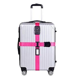 Queta Koffergurt TSA Schloß Kofferband Kreuz Gepäckgurt Reise Luggage Straps (Rose)