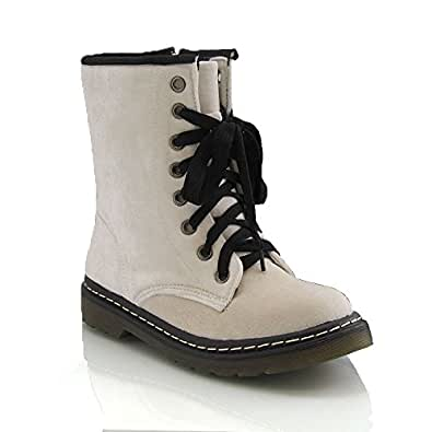 WOMENS LACE UP LADIES VELVET VINTAGE RETRO COMBAT GOTH PUNK ANKLE BOOTS SHOES (UK 4 / EU 37, WHITE VELVET)