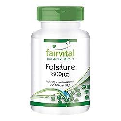 Folsäure Tabletten 800mcg - Hochdosiert - vegan - 250 Tabletten - Vitamin B9
