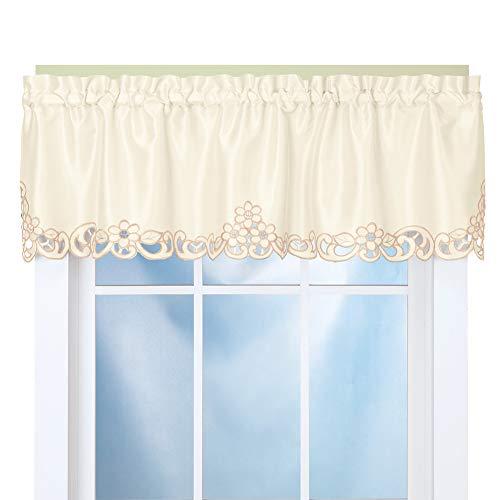 Eleganz Scroll Ausschnitt Fenster Volant cremefarben -